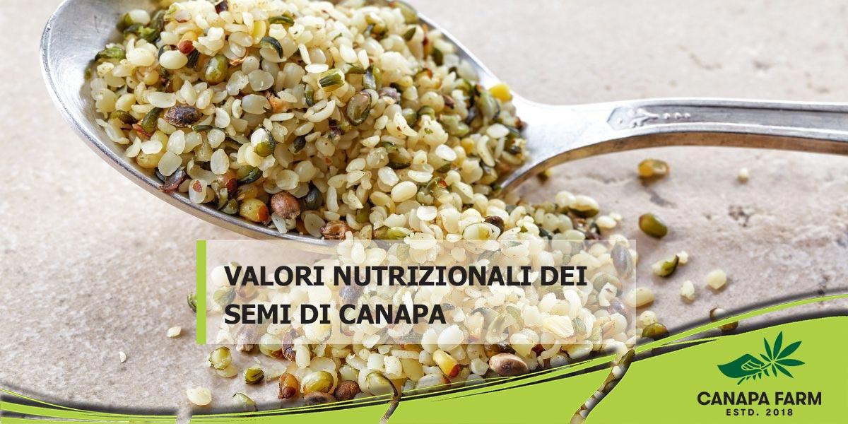 semi di canapa valori nutrizionali