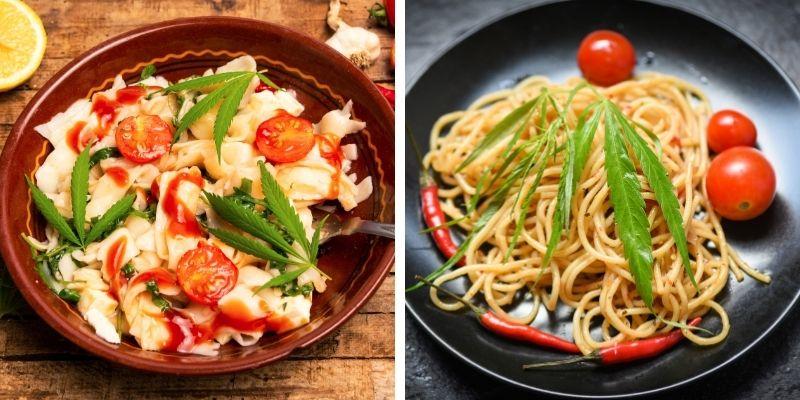 Pasta corta e spaghetti con condimento alla cannabis e pomodoro